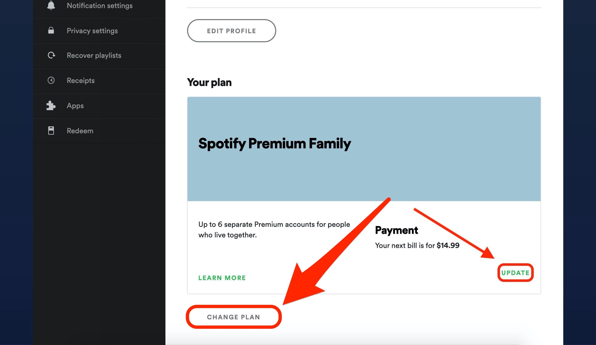 Change my spotify to student account