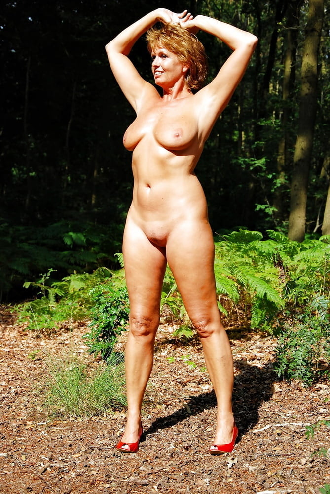 Nude matures in the woods